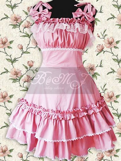 Pink Lace Ruffle Sweet Lolita Dress - Click Image to Close