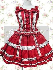 Red Sleeveless Front Lace Tie Blouse And Lace Sweet Lolita Skirt