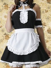 Black And White Ruffles Lolita Maid Dress in Cotton