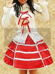White Long Sleeve Blouse And Red Sweet Lolita Skirt