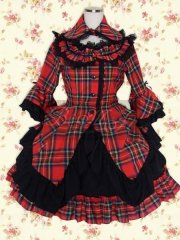 Black Red Check Long Sleeves Cotton Sweet Lolita Dress