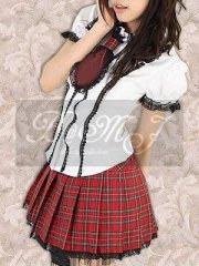 White Puff Short Sleeves Blouse And Checkered Sweet Lolita Skirt