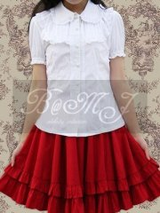 White Blouse And Red Sweet Lolita Skirt