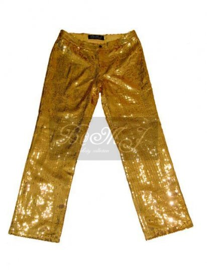 Michael Jackson This Is It Trousers with Gold Sequin - Click Image to Close