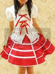 White Puff Short Sleeves Blouse And Red Sweet Lolita Skirt