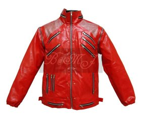 Michael Jackson Beat It Jacket in Red & Silver Shoulder
