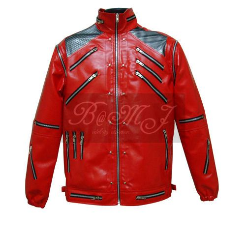 Michael Jackson Beat It Jacket in Red & Black Shoulder