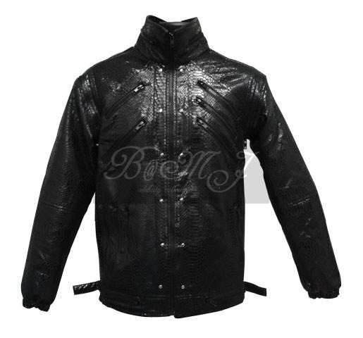 Michael Jackson Beat It Jacket in Black Snake Skin Pattern