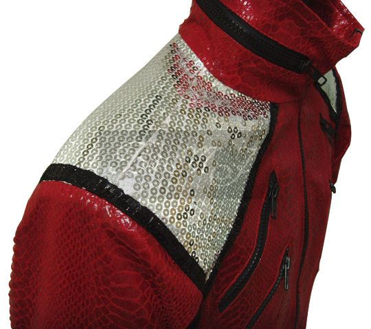 Michael Jackson Beat It Red Snake Skin Pattern Jacket