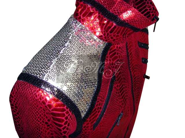 Michael Jackson Beat It Jacket in Shiny Red Snake Skin Pattern