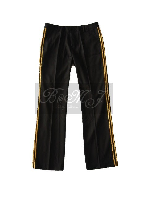 Michael Jackson Billie Jean Trousers in Black with Gold Sequin - Click Image to Close