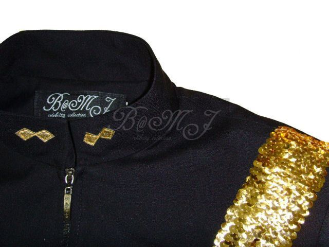 Michael Jackson Dangerous Tour Jacket Black and Gold Sequins