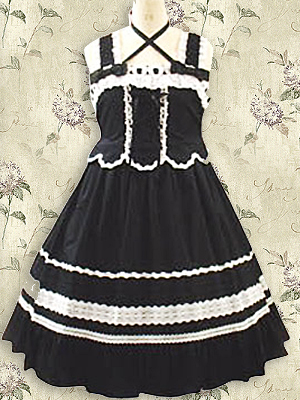 Black And White Applique Bow Cotton Gothic Lolita Dress