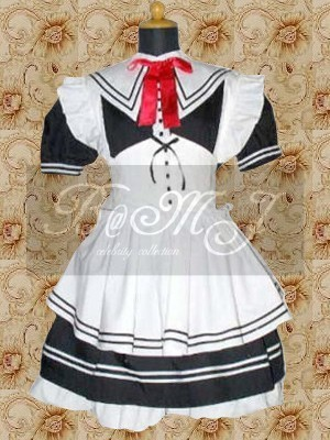 Black And White Short Sleeves Lolita Maid Dress