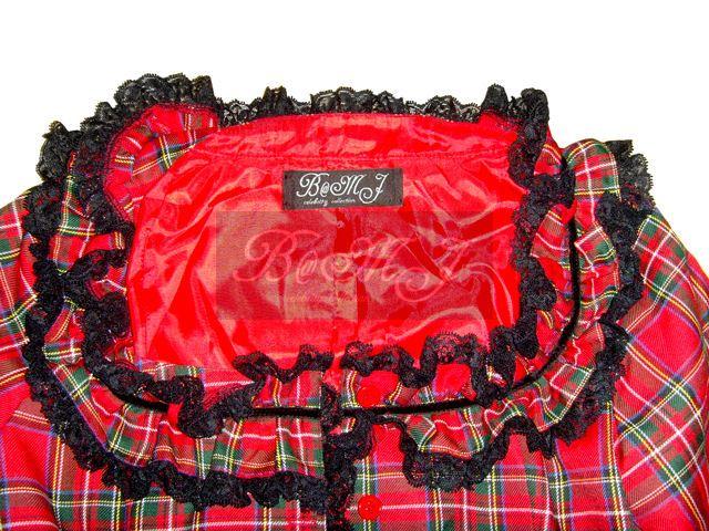 Black Red Check Long Sleeves Cotton Sweet Lolita Dress