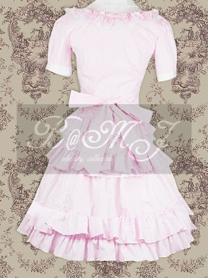 Pink Blosue And Sweet Lolita Skirt