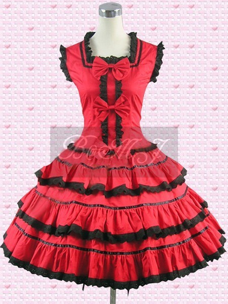 Red Multi Tiers Sweet Lolita Dress