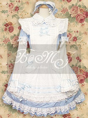 White And Blue Long Sleeves Sweet Lolita Dress - Click Image to Close