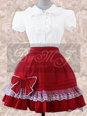 White Short Sleeves Blouse And Red Lolita Skirt - Click Image to Close