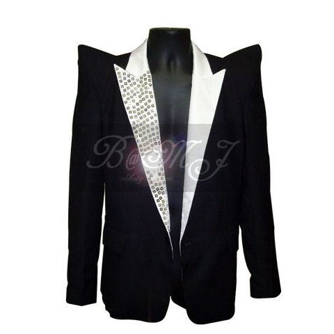 Michael Jackson This Is It Jacket in Black with Gems Lapel - Click Image to Close