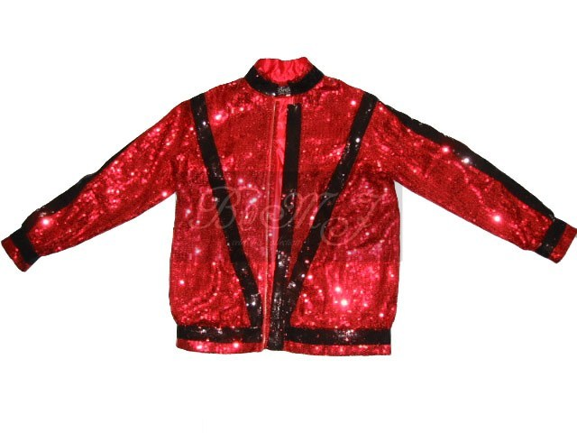 Michael Jackson Thriller Jacket in Red with Black Sequin - Click Image to Close