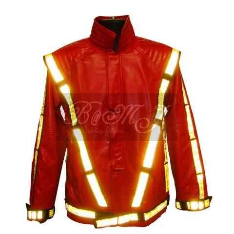Michael Jackson Thriller Jacket in Red with Yellow Reflective - Click Image to Close