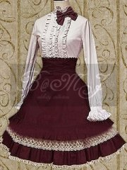 Long Sleeves Blouse And Lace Trimmed Lolita Skirt