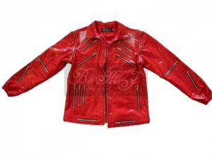 Michael Jackson Beat It Jacket in Red Patent Leather